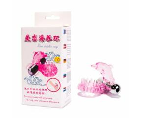 Delfines 10 funkciós rezgős péniszgyűrű - Pink