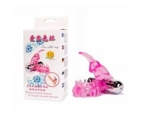 Nyuszis 10 funkciós rezgős péniszgyűrű - Pink